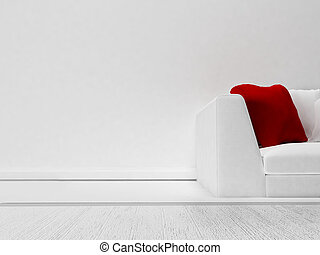 red pillow on the sofa