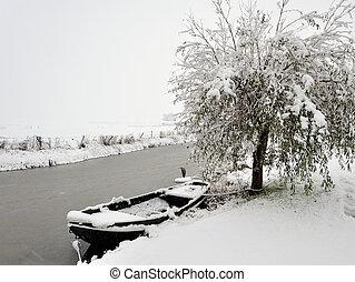 Winter landscape in Friesland the Netherlands