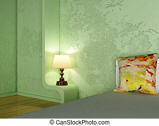 a lamp in the bedroom