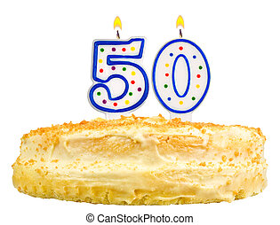 birthday cake candles number fifty isolated