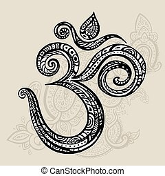 Aum, Om symbol. - Om symbol Aum, ohm. Hand drawn detailed...