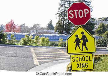 School Crosswalk Signs - School Crosswalk With Stop Sign and...