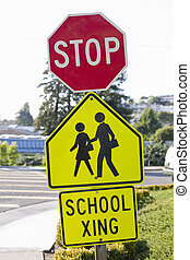 Stop Sign and School Crosswalk Sign - School Crosswalk With...