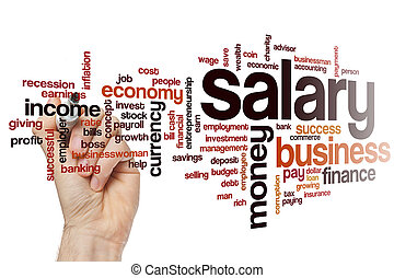 Salary word cloud concept with money finance related tags