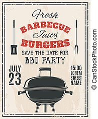Vintage barbecue party invitation. Food flyer template....