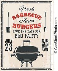 Vintage barbecue party invitation.