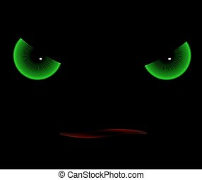 the evil eye - Evil eyes in the darkness, vector art...