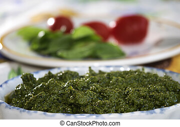 genoese pesto - homemade genoese pesto prepared with fresh...