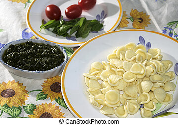 fresh pasta and genoese pesto - handmade egg orecchiette and...