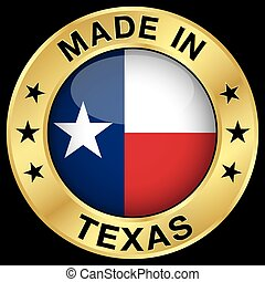 Texas Made In Badge - Made in Texas gold badge and icon with...