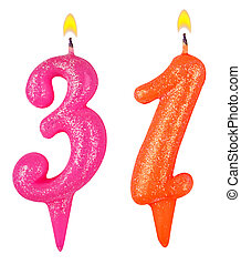 Birthday candles number thirty one isolated on white...