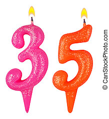 Birthday candles number thirty five