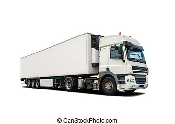 white heavy truck isolated