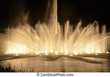 Wasser und Licht Show - Wasser und Lichtspiele im Park...