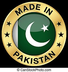 Pakistan Made In Badge - Made in Pakistan gold badge and...