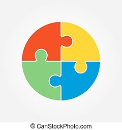 Jigsaw puzzle in the form of a colored circle. Vector...