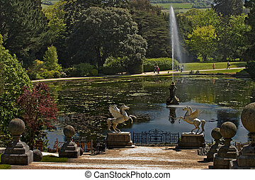 Powerscourt Gardens - The lake at Powerscourt Gardens County...