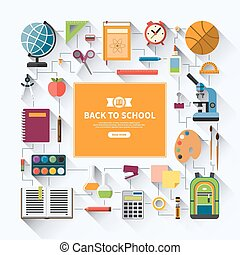 Back to school flat vector background with education icon...