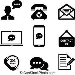 Contact us icon set for your design