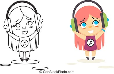 Line Man Geek Hipster Headphones Listen Street Music Background Concept Flat Design Vector Illustration