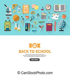 Back to school flat design vector banner with education icon...