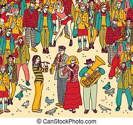 Group street musicians band and audience color - City...