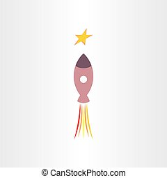 rocket travel in universe star icon