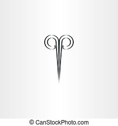 scissors hair salon stylized black logo