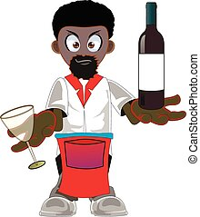 Cartoon african american waiter - Illustration of a african...