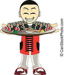 Cartoon asian waiter - Illustration of a asian waiter on a...