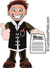 Cartoon waiter - Illustration of a waiter on a white...