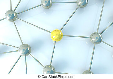 Network Node - 3D rendered Illustration