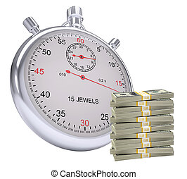 Timer with stack of money on isolated white background