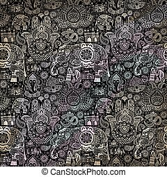 pattern with Indian miniatures