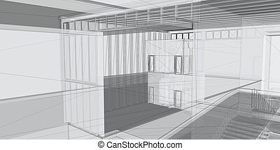 Abstract architectural 3D construction. Concept - modern architecture and designing.Abstract architectural 3D construction. Concept - modern architecture and designing.