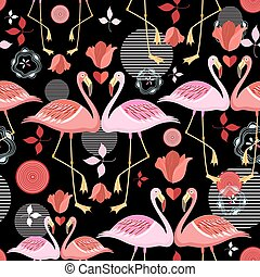 beautiful pattern lovers flamingos - seamless pattern of red...