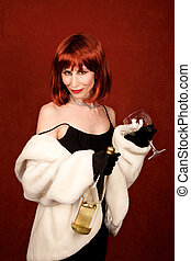 Socialite with brassy red hair and wine bottle - Drunk...