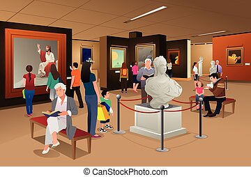 People Inside a Museum of Art - A vector illustration of...