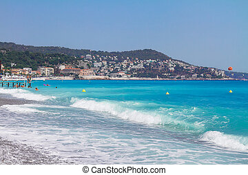 cote dAzur, France - stone beach and turquiose water of cote...