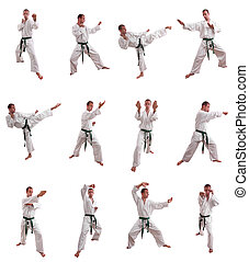 karate man collage isolated on white - karate man collage on...