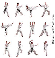 karate, hombre, collage, aislado, blanco