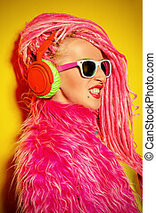 flashy DJ - Glamorous modern DJ girl wearing bright clothes,...