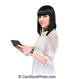 Accountant business woman with a calculator.  Over white