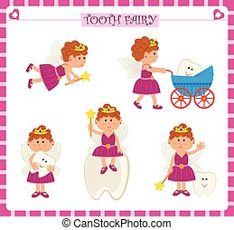 Tooth Fairy Set - Cute cartoon set of five tooth fairy and a...