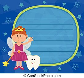 Tooth Fairy Sign - Tooth fairy and a baby tooth are standing...