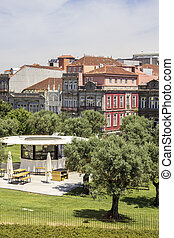 View of old downtown and renovated Lisboa square, Porto...