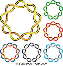 Celtic knot - Vector illustration of six complex celtic...