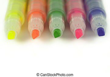 Close up of highlighters isolated on white - Close up of...