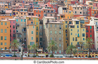 Menton, France - colorful houses of Menton old town, France
