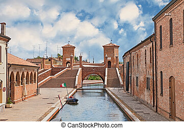 ancent bridge in Comacchio, Italy - the old bridge...